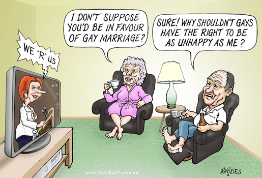 cartoon - 3AW John Burns' view of Gay Marriage rights :-) Marriage rights ...